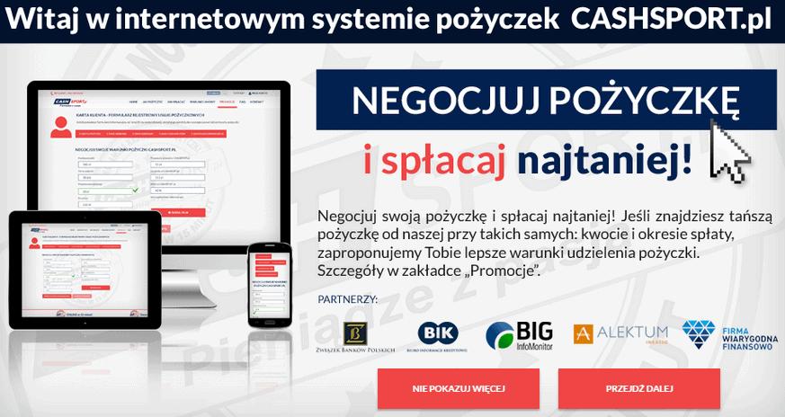 CASHSPORT.pl Gwarancja Najtańszej Pożyczki przez Internet